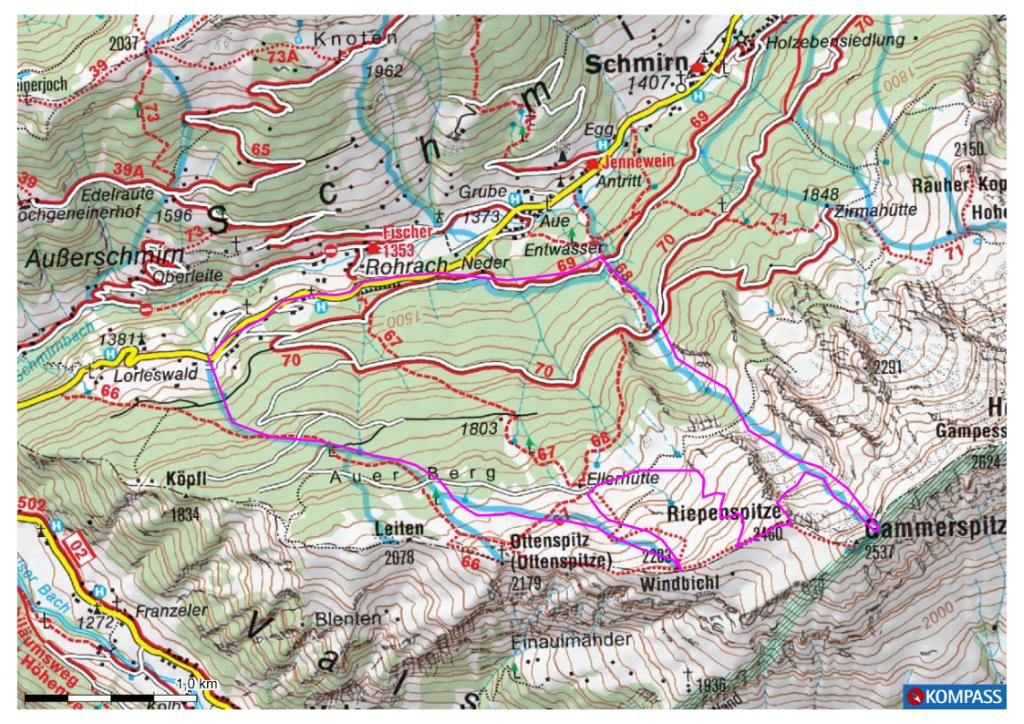 Gammerspitze, Schmirntal Karte