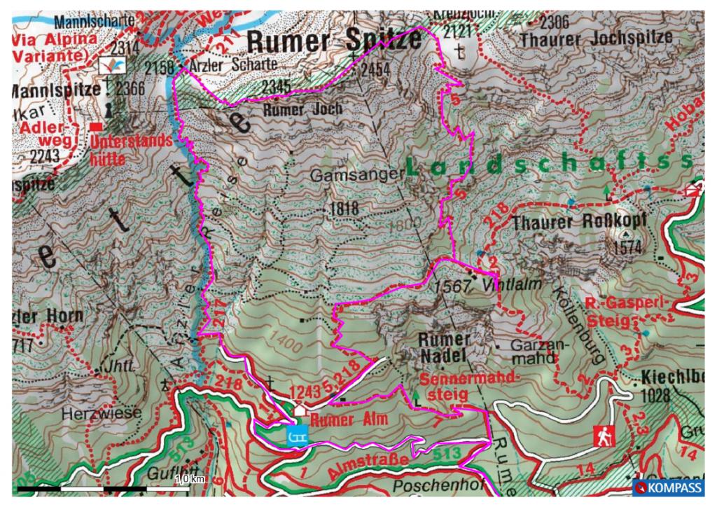 Karte Rumer Spitze