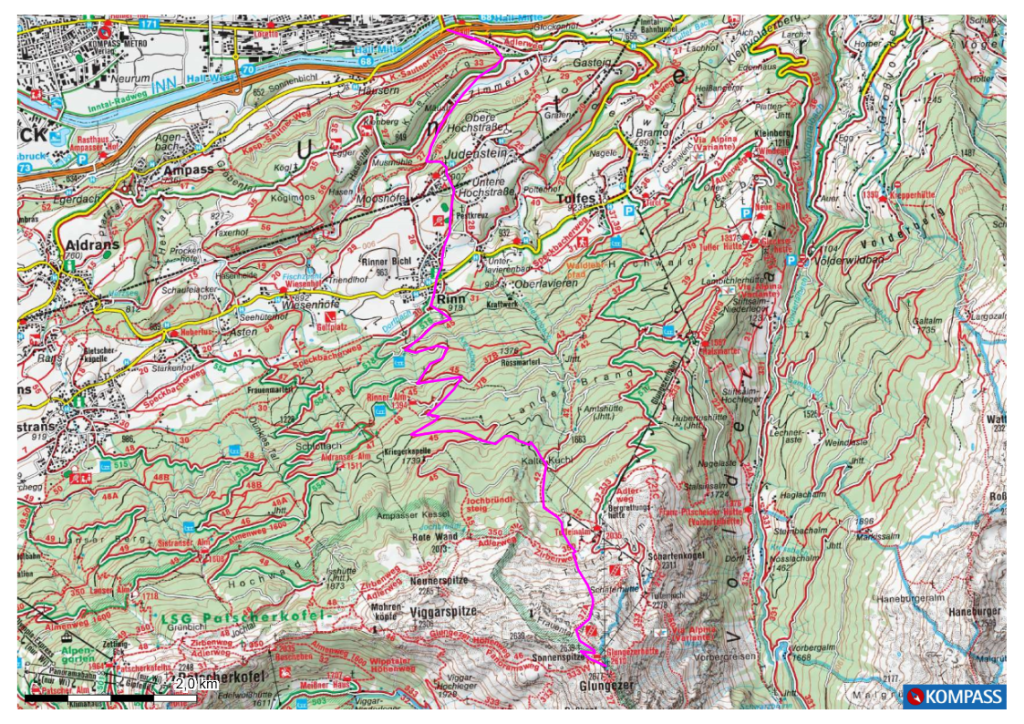 Karte Hall Glungezer